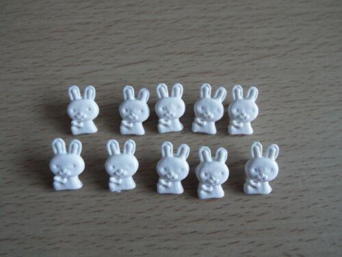 10 X Lindo Bebé Conejo Blanco Caña Botones De Plástico Novedad F27
