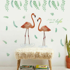 Flamingo-Tropical-Leaves-Wall-Art-Stickers-Removable-Girls-Nursery-Decals-Decor