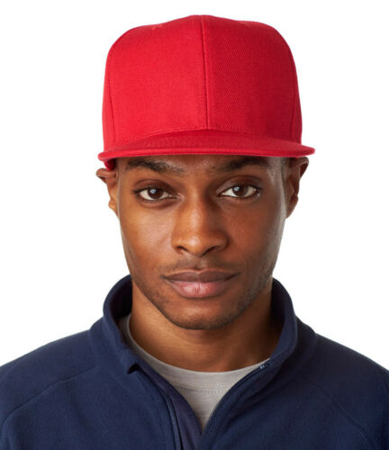 UltraClub Men/'s Polyester 6 Pannel Flat Bill Structured Frim Front Cap 8160