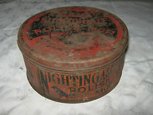 Very-Rare-Early1900-039-s-Australian-Nightingale-Polish-Mop-Tin-no-Contents