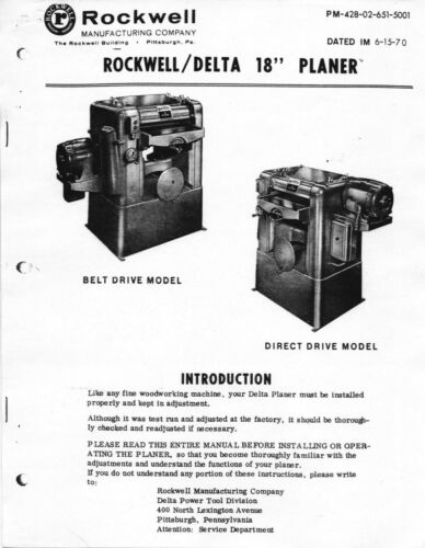 9 Additional 1970 Delta Rockwell 18 inch Planer Instruction Maintenance Manual