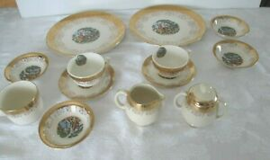 VINTAGE-22K-GOLD-EDGED-COURTING-COUPLE-DISHES-13-LOT-GORGEOUS