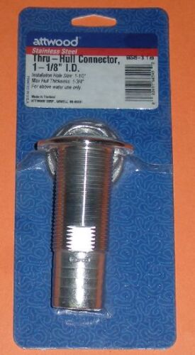 """ATTWOOD 66549-3 STAINLESS STEEL THRU-HULL Connector Fitting 1-1//8/"""" 3841"""