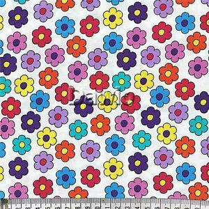 Bunte-2-farbige-Blumen-auf-weiss-Blueten-RJR-Patchwork-Deko-Stoff-20x110cm