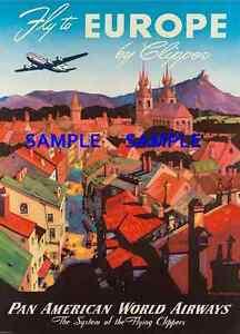 "TWA Airline 8.5/' X 11/""  Travel Poster EUROPE"