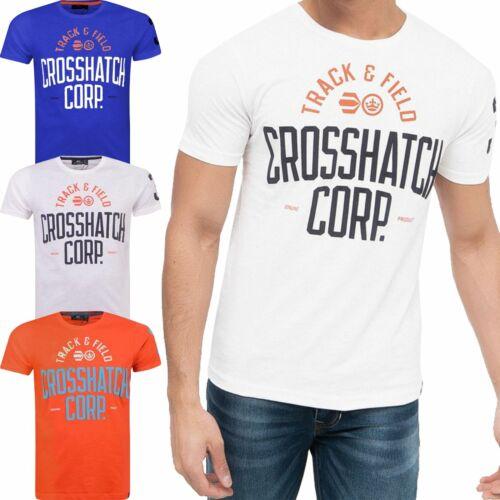 Crosshatch Da Uomo Manica Corta TRACK /& FIELD stampato manica girocollo T Shirt Top