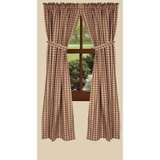 "Country new Salem lined window curtains w/tiebacks / NUTMEG/BLACK /63"" length"