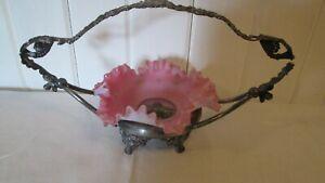 Antique-Ruffled-Pink-Cased-Glass-Souvenir-Stubenberg-Austria-Metal-Holder-Scene