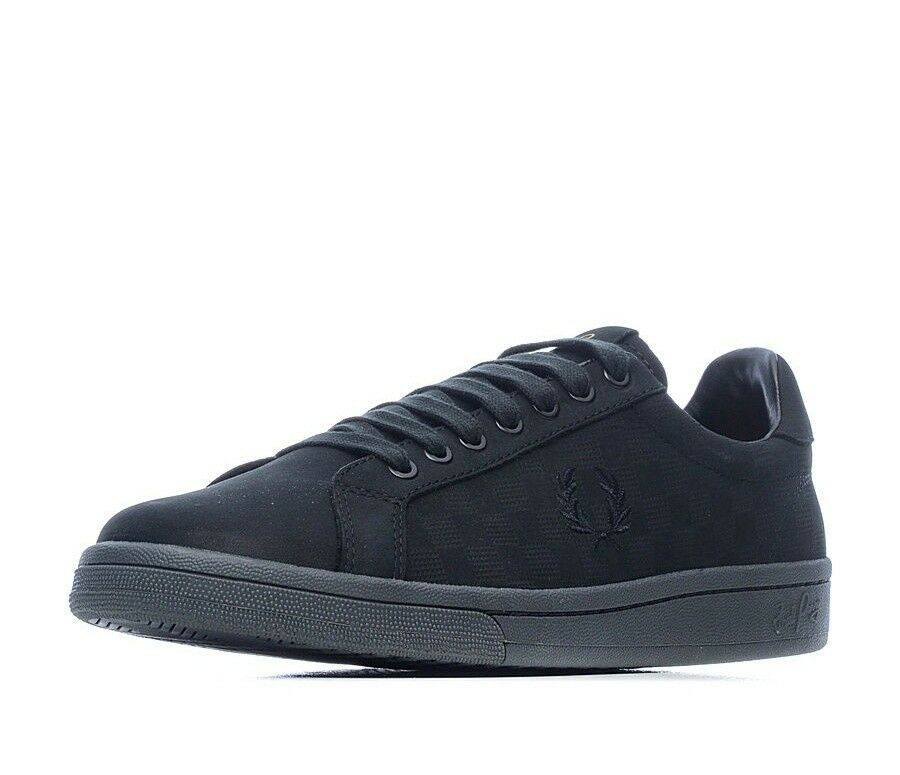 Fred Perry Men's Checkerboard Nubuck Leather Trainers Shoes B1201-102 - Black