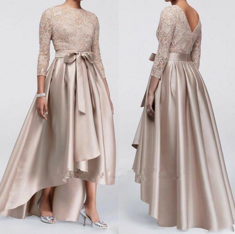 Sexy Mother of the Bride Groom Evening Dress Lace Applique Sequin 3 4 Sleeve