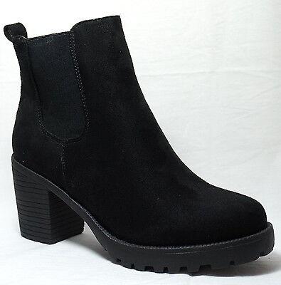 schuhe damen stiefeletten stiefelette stabilen absatz boots schlicht gummizug