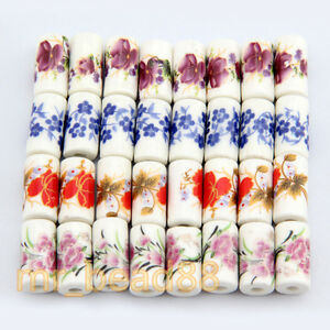 10Pcs-Cylindrical-Charm-Flower-Pattern-Ceramic-Porcelain-Beads-Loose-Bead-9x17mm