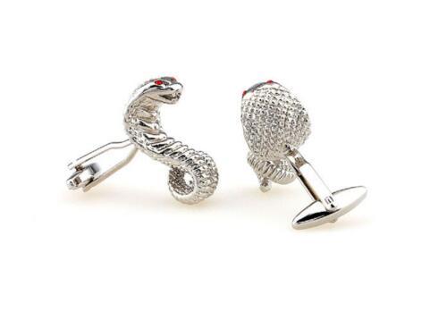 Cobra Pair Cufflinks Silver Mustang Dad Wedding Fancy Gift Box /& Polishing Cloth