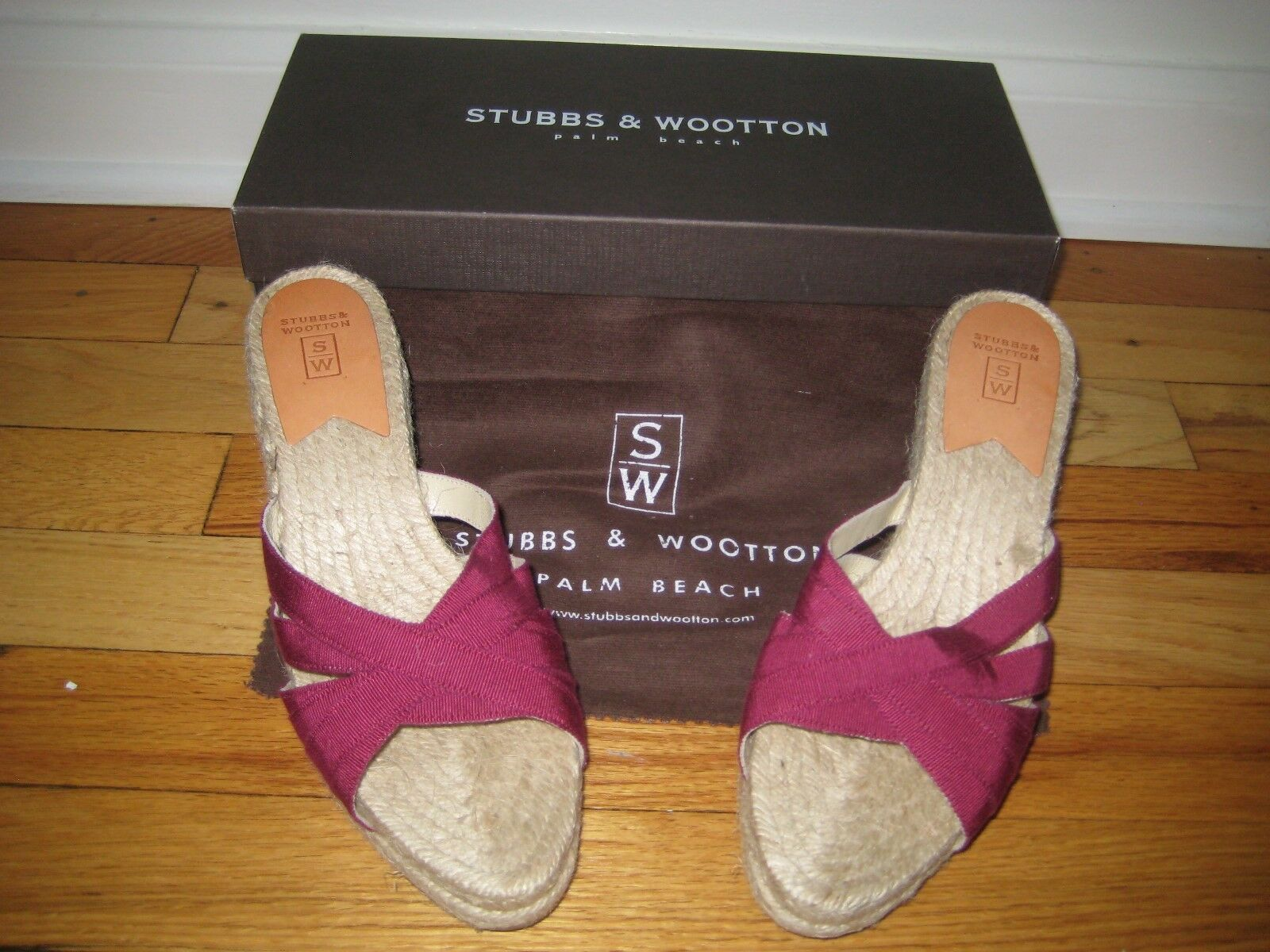 NIB Stubbs & & & Wootton Purple Wine Kelly Wedge Espadrilles 39  325 4fc9d8