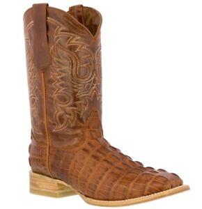 Mens Cognac Crocodile Alligator Tail Rodeo Boots Cowboy Dress Square Toe Botas