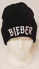 Justin Bieber Purpose tour embroidered Bieber logo black beanie hat one size cap