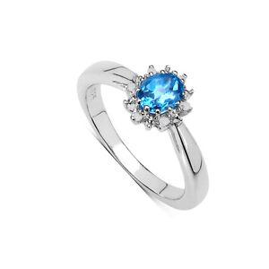 Plata-Ley-Topacio-Azul-amp-Anillo-Pedida-Diamante-Cluster-Tamano-Ijklmnoprstuv