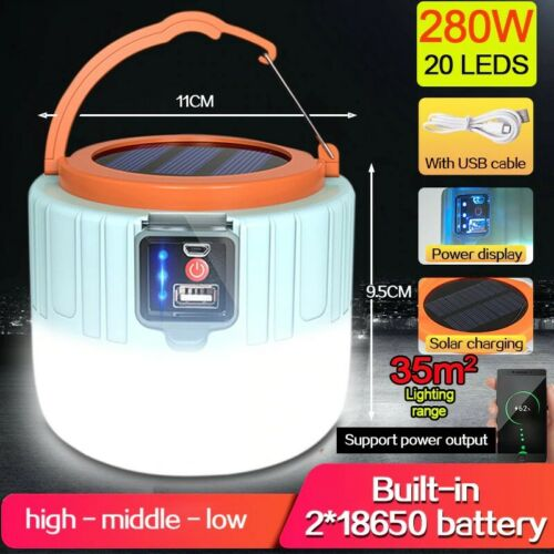 Details about  /Portable USB Rechargeable LED Camping Light Solar Lamp Waterproof Outdoor Hiking