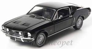 Greenlight-12843-1968-68-Ford-Mustang-GT-2-2-Fastback-1-18-Diecast-schwarz