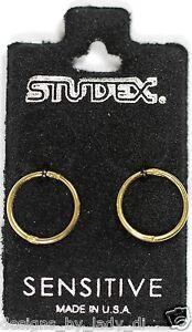 Smooth-Sleepers-Hinged-Gold-Plated-Hoop-Earrings-Studex-Sensitive-18GA-3-8-Inch