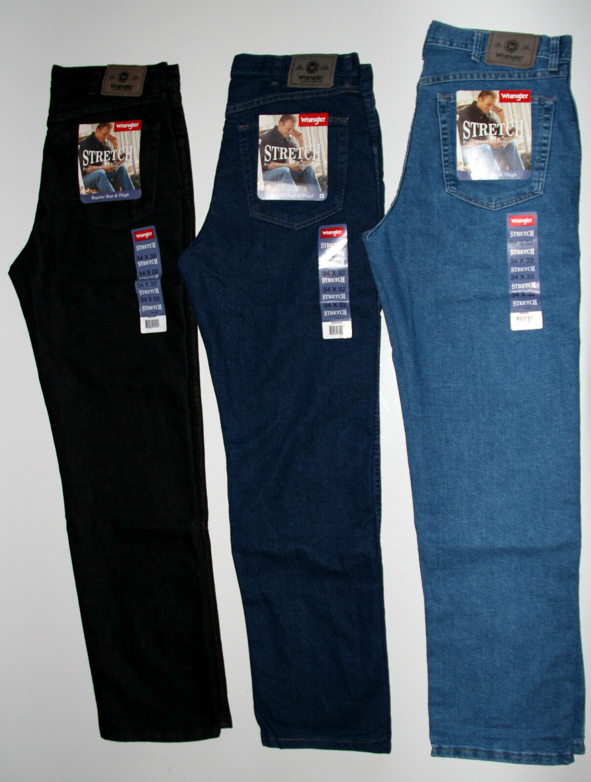W12109004 Herren Stretch Jeans Black Overdye Wash Wrangler Regular Fit