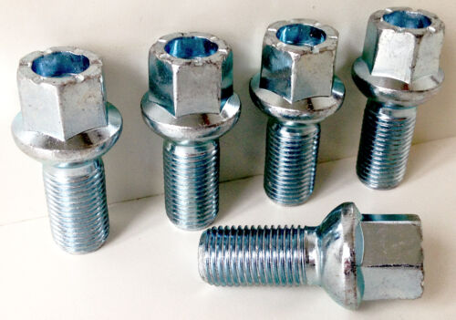 27mm thread 17mm Hex Radius seat x 5 alloy wheel bolts nuts lugs M14 x 1.5