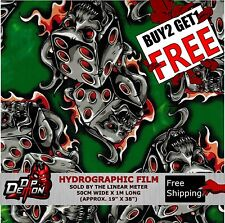 Lm Green Dice Skulls Hydrographic Water Transfer Film Hydro Dipping Dip Demon