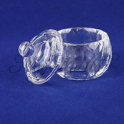 ail Art Acrylic Crystal Glass Dappen Dish Lid Bowl Cup Liquid Powder Container O