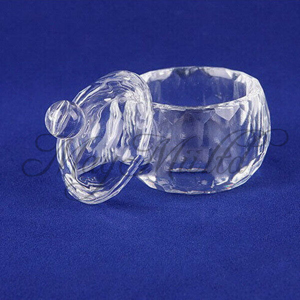 ail Art Acrylic Crystal Glass Dappen Dish Lid Bowl Cup Liquid Powder Container S