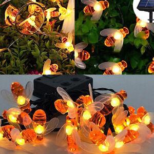 Solar-String-20-LED-30LED-Lights-Honey-Bee-Shape-Solar-Powered-Garden-Yard-CHZ