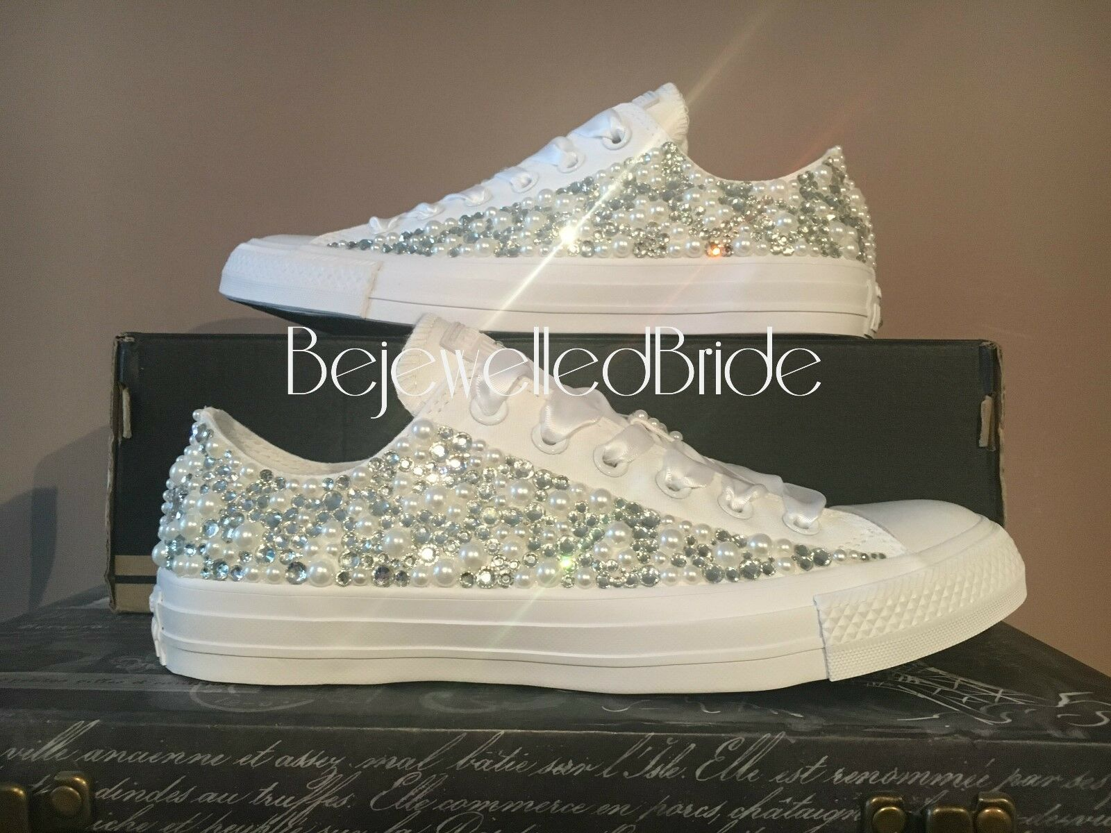 Wedding Converse All White, with Pearls and crystals, all sizes available