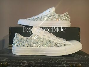Image is loading Wedding-Converse-All-White-with-Pearls-and-crystals- e2e707b18