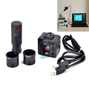 5MP-Microscope-USB-numerique-video-camera-electronique-oculaire-avec-0-5x-Adaptateur-Lentille