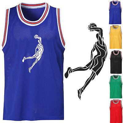 Men/'s Sleeveless Mesh Basketball Jersey Slam Dunk Team Tank Top Sports Tee 0037
