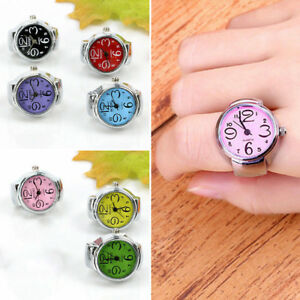 Fashion-Colorful-Finger-Ring-Watch-Creative-Steel-Tone-Round-Dial-Elastic-Quartz