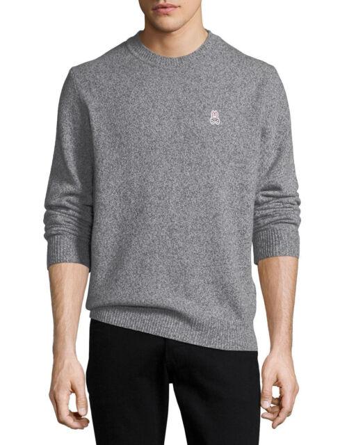 Psycho Bunny Men/'s Merino Wool Charcoal Grey V-Neck Sweater