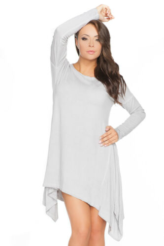 Ladies Oversized Asymmetric Dress Crew Neck  Long Sleeve Cotton Size 8-14 FT2174