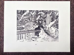 Shakespeare-PRINT-Midsummer-Nights-Dream-Virgil-Finlay-1975-Art-Oberon-Vintage