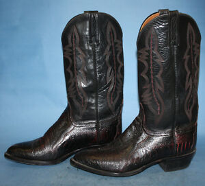 MENS-LUCCHESE-2000-BLACK-MAROON-LEATHER-WESTERN-COWBOY-BIKER-BOOTS-sz-9-EE