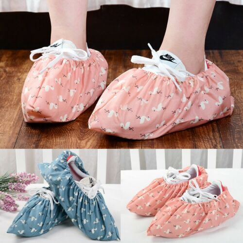 1pair Cloth Shoe Covers Home Washable Shoe Covers Cotton Shoe Covers