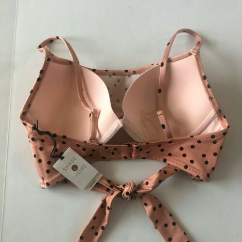 Shade /& Shore Womens Tan Black Polka Dot Front Tie Underwire Lightly Lined #SW1
