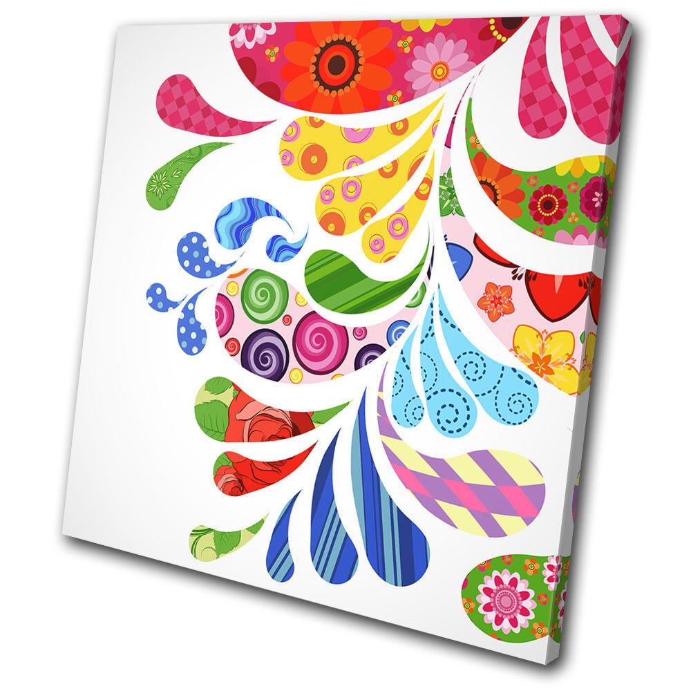 Abstract Drips Swirls Colourful SINGLE TOILE murale ART Photo Print
