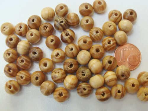 50 perles rondes bois marron strié 8mm PB60 DIY création bijoux Loisirs déco