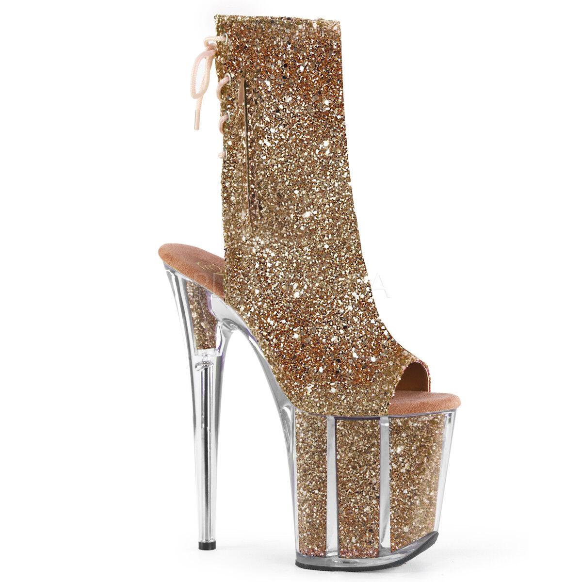 tutti i prodotti ottengono fino al 34% di sconto Pleaser Pleaser Pleaser FLAMINGO-1018G Donna  rosa oro Glitter Back Laced Ankle Mid-Calf avvio  negozio di vendita outlet