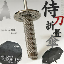 New Japanese Samurai Katana Sword Kamon Folding Umbrella from Japan