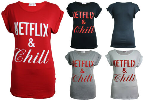 Netflix and Chill T-Shirt Funny Parody Joke Cool Tumblr Gift Ladies Top Tee