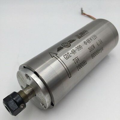 300W AC75V Water Cooled Spindle Motor ER8 60000rpm D48mm 0.005mm Runout CNC