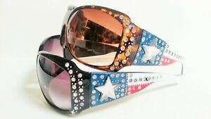 Womens-Red-White-Blue-Star-Rhinestone-Sunglasses