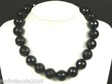 Gemstone Necklace Black Onyx 12mm Facet Round Beads
