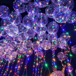 30-LED-Balloon-Leucht-Helium-Luftballon-Transparent-Mit-LED-Lichterkette-Decor